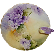 Antique French Limoges Nappy Plate  Hand Painted African Violets