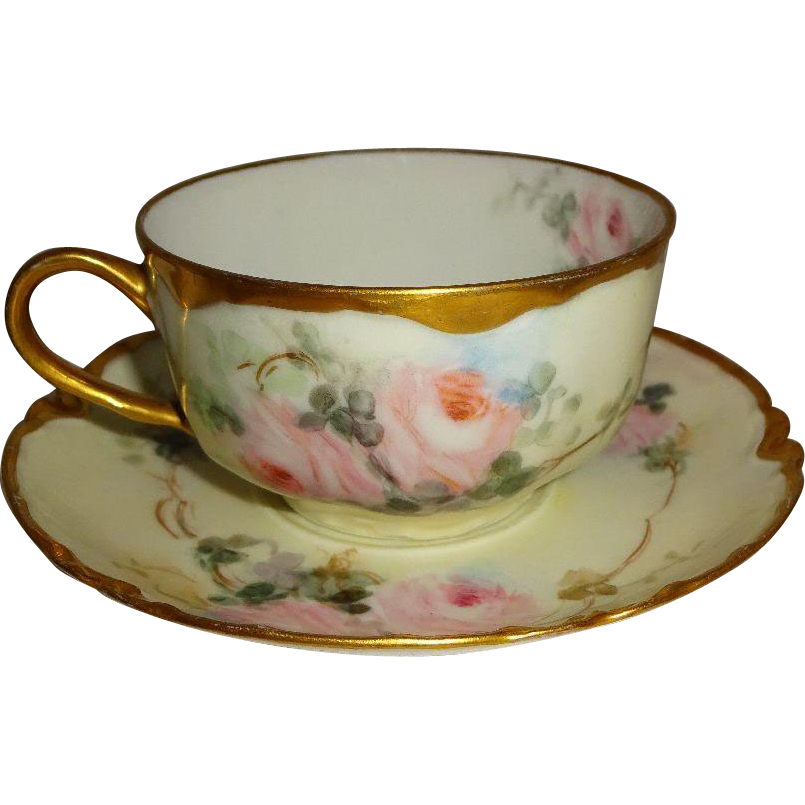Vintage Haviland Limoges Tea Cup Saucer Hand Painted Pink Roses