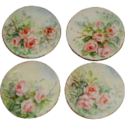 4 Hand Painted Vintage Porcelain Buttons Studs Pink Roses