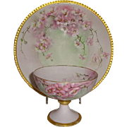 Limoges France Hand Painted Antique French China Plate with Matching Punch Cup Pink Roses