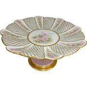 Antique French Limoges Jeweled Tazza Compote Pink Tea Roses