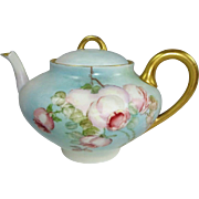 French Limoges Tea Pot Hand Painted Romantic Tea Roses