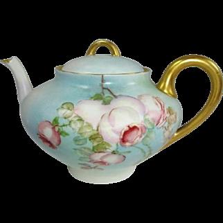 French Limoges Tea Pot Hand Painted Romantic Tea Roses