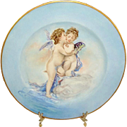 Haviland Limoges Plate Hand Painted Kissing Cherubs Artist Signed