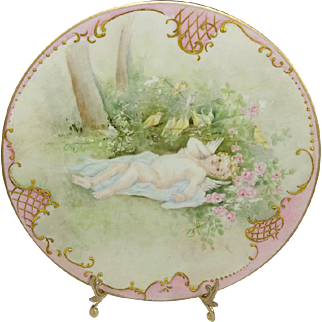 Antique French Limoges Plate Hand Painted Cherub Signed Dated