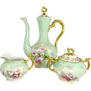 Limoges Tea Set TeaPot Sugar Creamer Hand Painted Pink Tea Roses