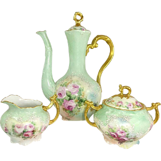 Limoges Tea Set TeaPot Sugar Creamer Hand Painted Pink Tea Roses