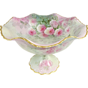 Antique French Limoges Compote Hand Painted Pink Roses Signed
