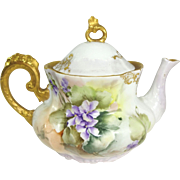 French Limoges Tea Pot Hand Painted Purple African Violets