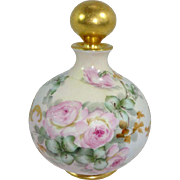 Antique French Limoges Perfume Cologne Bottle Hand Painted Pink Roses