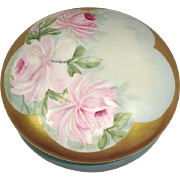 Large French Limoges Antique Powder Jar Hand Painted Pink Roses