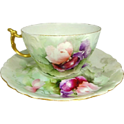 JPL Limoges Cup Saucer Hand Painted Sweet Peas