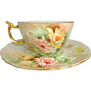 JPL French Limoges Cup Saucer Hand Painted Chrysanthemum