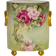 French Vintage Limoges Hand Painted Artist Signed Cache Pot