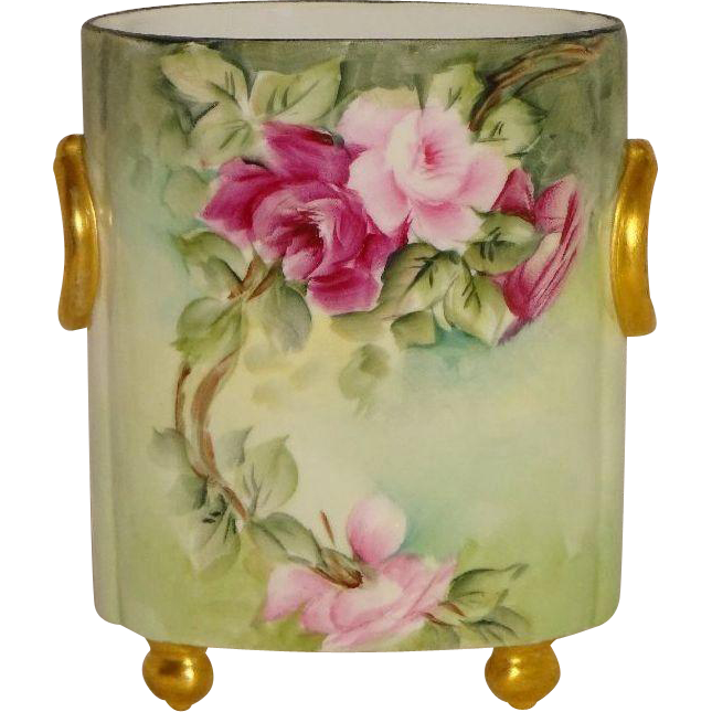 Limoges Hand Painted Roses Artist Signed Cache Jardiniere Vase
