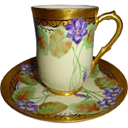 Antique Limoges France Tea Cup Saucer Hand Painted Purple African Violets