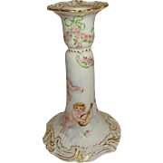 French Antique Limoges France Candlestick with Hand Painted Cherubs Angels Roses Artist Signed Dated 1899