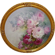 Framed Antique French Limoges Charger Tray Plaque ROSES