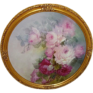 Framed French Antique Limoges Charger Tray Hand Painted Pink Roses