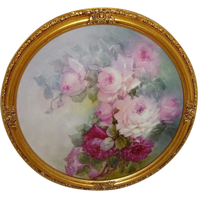 "18"" Framed Antique Limoges Charger Tray Plaque Hand Painted ROSES"