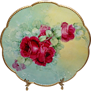 Beautiful Antique AK French Limoges Plate with Hand Painted Ruby Red Roses