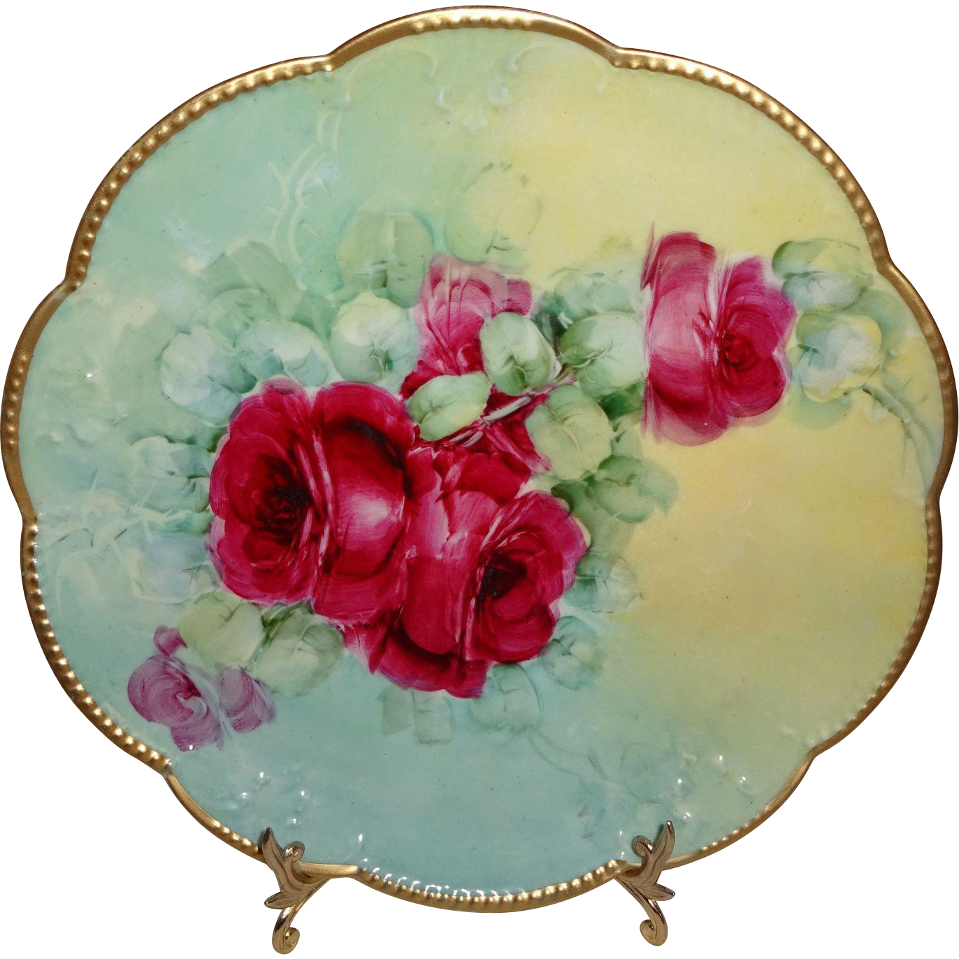 Antique AK French Limoges Plate Hand Painted Ruby Red Roses