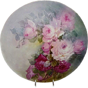 "16"" French Antique T&V Limoges France Charger Tray Hand Painted Pink Tea Roses"