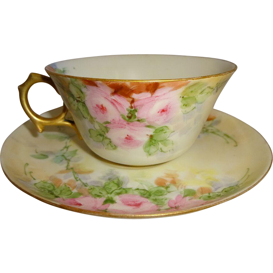 French Limoges Artist Signed Cup Saucer Hand Painted Pink Roses