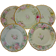 5 Vintage French Guerin Limoges Plates with Hand Painted Tea Roses