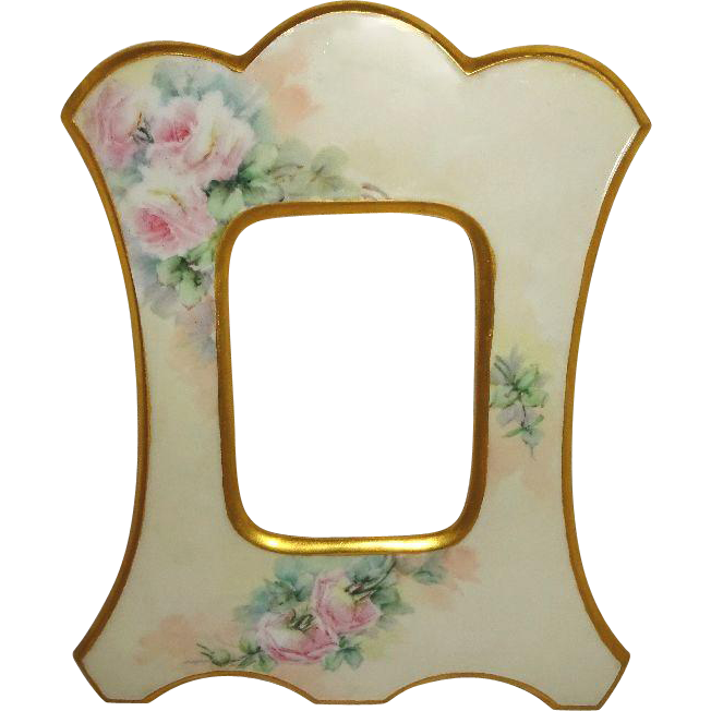 Antique Limoges Picture Photo Frame with Hand Painted Pink Roses