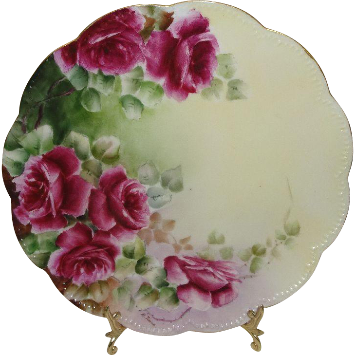 Vintage Haviland Limoges D'Arcy Plate with Hand Painted Tea Roses