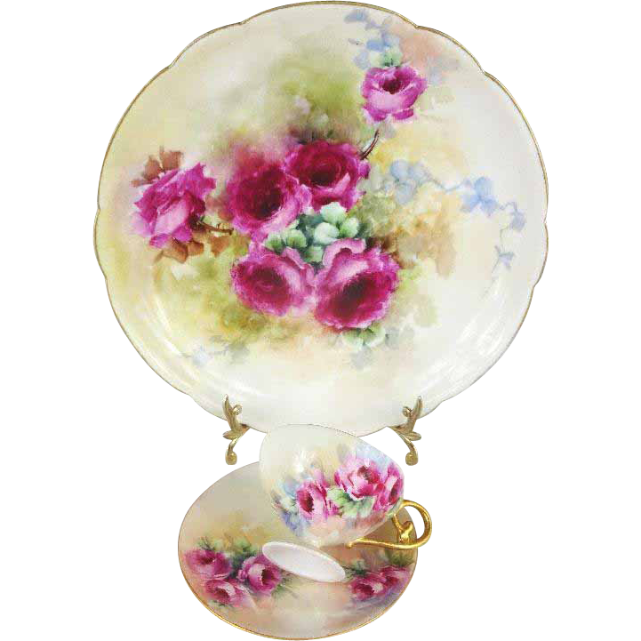 Antique French Limoges Plate Cup Saucer Hand Painted Pink Roses