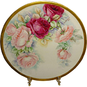 Framed Willets Belleek Plate Hand Painted Pink Roses Artist Signed Dated 1909