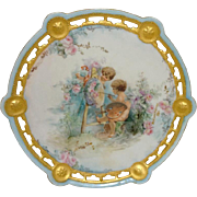 French Antique Limoges Plate with Hand Painted Cherubs Artist Signed Dated 1901