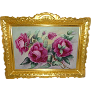"Magnificent 13 1/2"" French Antique Coiffe Limoges Porcelain Plaque with Hand Painted Pink Tea Roses"
