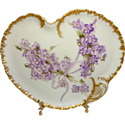 French Antique Haviland Limoges Tray Hand Painted Violets Signed