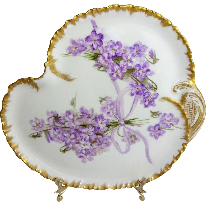 Antique French Haviland Limoges Tray with Hand Painted Lilacs Signed