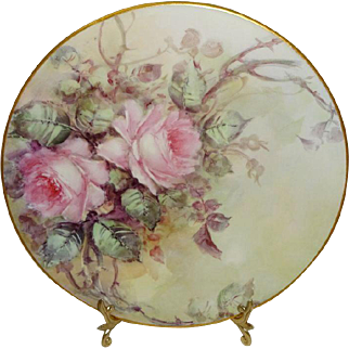 Antique French Pouyat Limoges Plate Hand Painted Pink Tea Roses