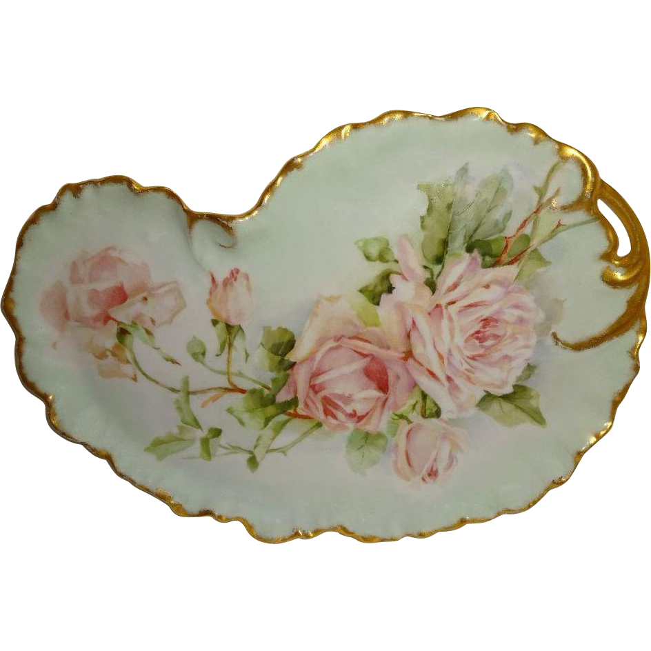 Antique French Limoges Tray Hand Painted Pink Roses Bouquet