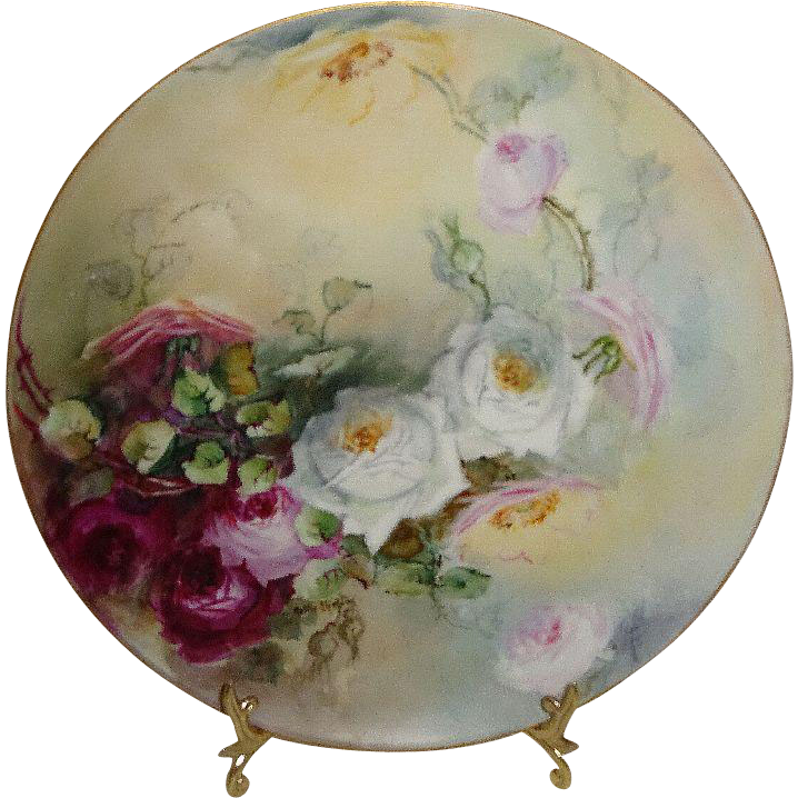 Haviland Limoges Plate Hand Painted Roses Signed Nellie Sheldon
