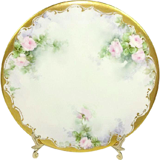 Antique French Limoges Hand Painted Plate Pink Tea Roses