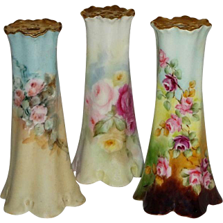 3 Vintage Hatpin Holders with Hand Painted Roses - - One Artist Signed