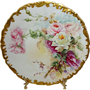 Antique French Limoges Plate Hand Paint Roses Bouquet