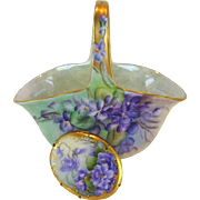 Antique Austria Basket & Porcelain Brooch Hand Painted Violets