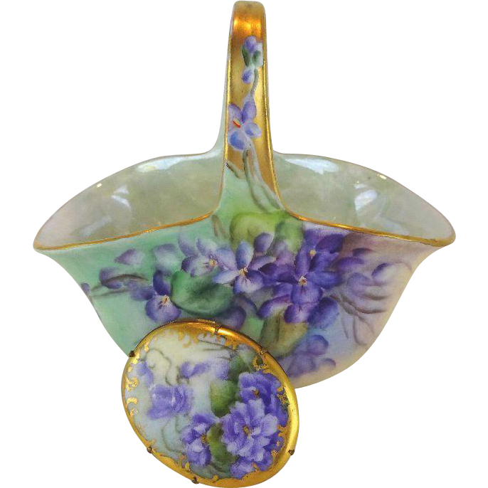 Antique Austria Basket & Porcelain Brooch Hand Painted Violets