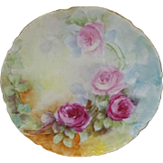 French Vintage Haviland Limoges Plate with Hand Painted Pink Roses