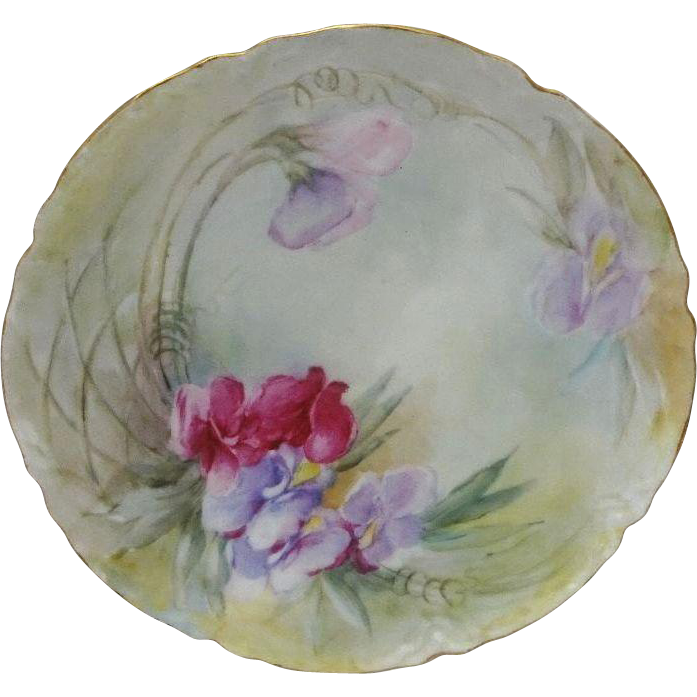 Vintage French Haviland Limoges Plate Hand Painted Sweet Peas