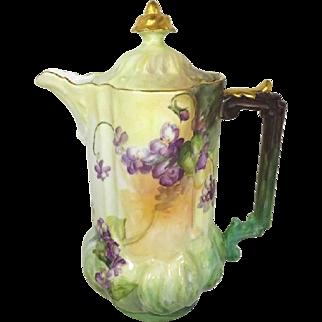 Antique Austria Chocolate Pot with Hand Painted Violets