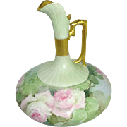Antique French Limoges Squat Ewer Pitcher with Hand Painted Pink Roses