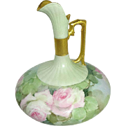 Antique French Limoges Ewer Pitcher Hand Painted Pink Tea Roses